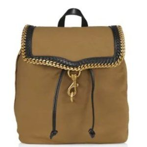 $159 *NEW* Rebecca Minkoff Chain-Trimmed Woven Backpack